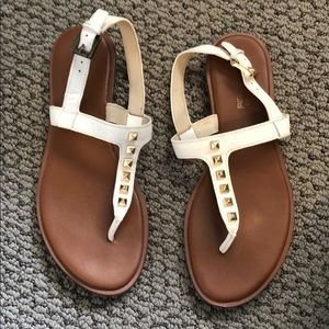 Michael Khors white studded sandals